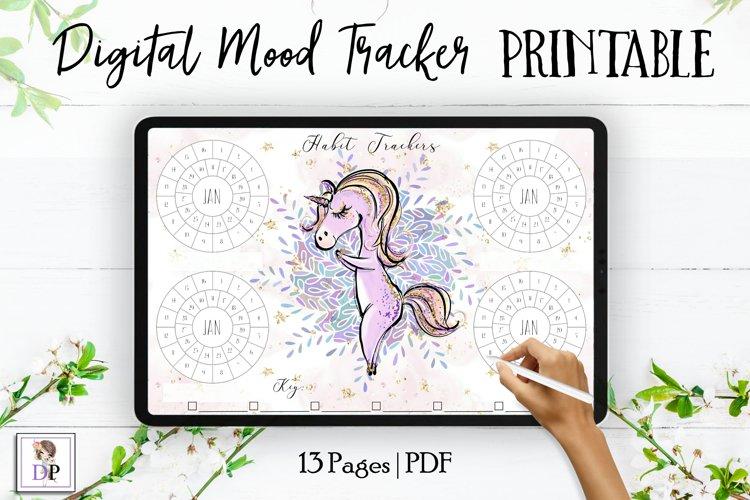 Digital Habit Trackers Y7 Yoga Series for Planner PRINTABLE example image 1