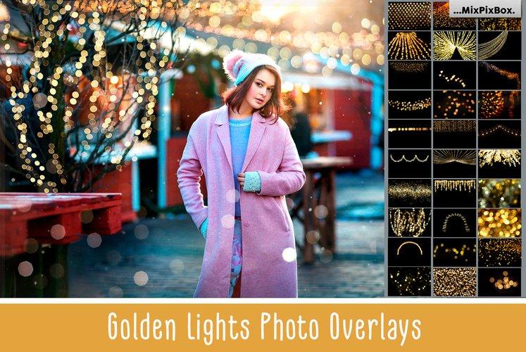 100 Golden Lights Photo Overlays example image 1