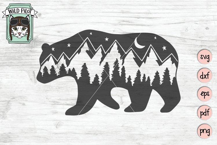 Bear SVG, Bear Silhouette SVG, Mountain Scene SVG Cut File example image 1