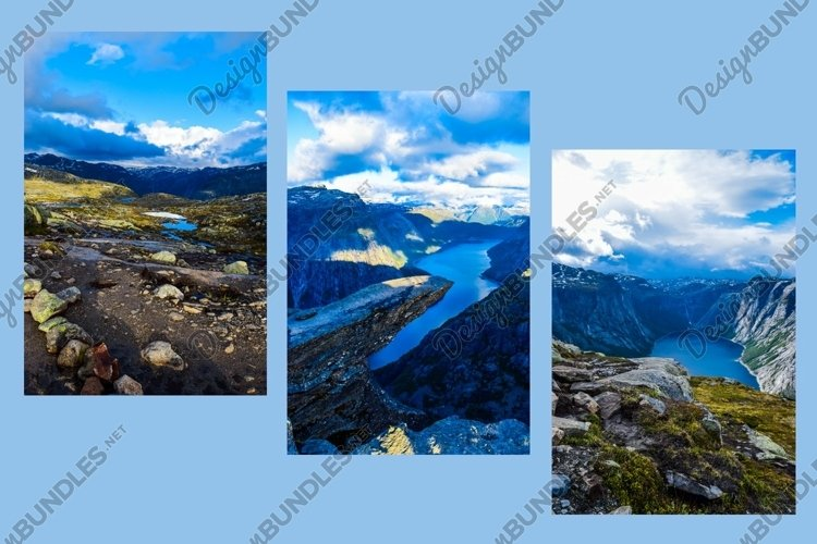 Amazing blue montain landscapes. Norway. Set of 3 photos.