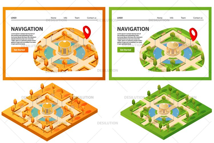 Isometric map public summer park. example image 1