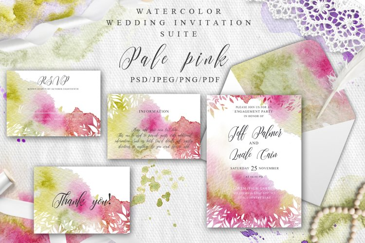 Pale pink Watercolor Spring Wedding Invitation suite
