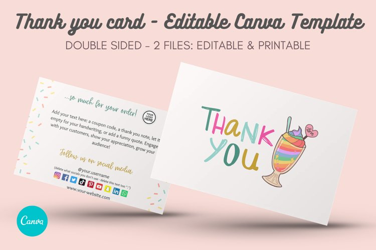 Sweet & Cute Thank You Card Template - Editable in Canva