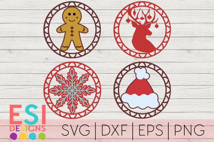 Christmas SVG |Gift Tag / Ornament Design Set|SVG DXF EPS PN example image 1