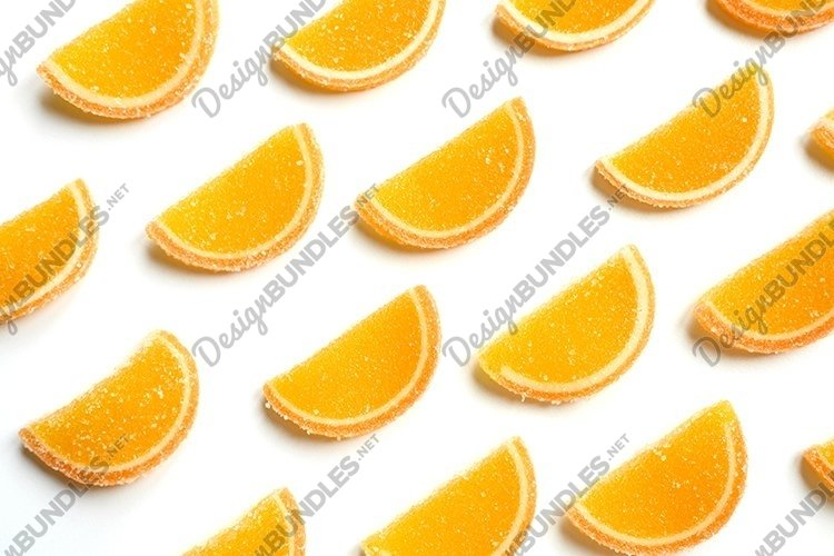 marmalade oranges citrus jelly slices in sugar flat lay example image 1