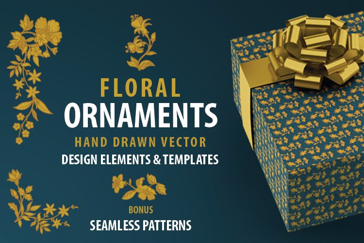 Floral design elements, templates and seamless patterns.