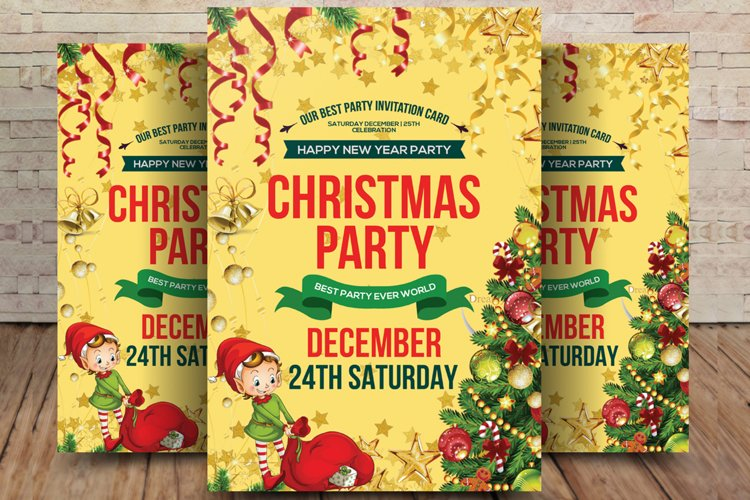 Merry Christmas Party Flyer Background example image 1