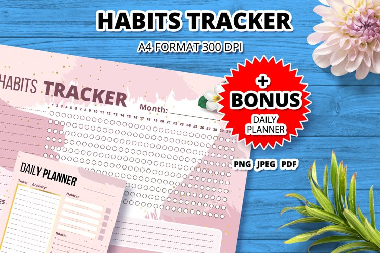Girly habits tracker template page example image 1