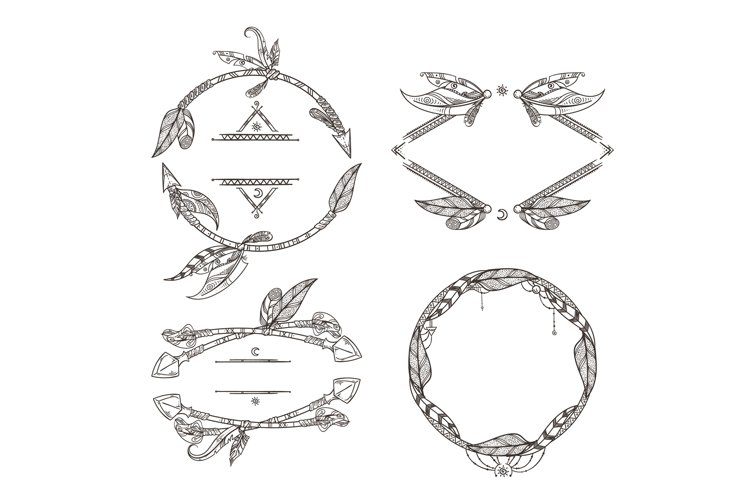 Frames set of feathers arrows and other decorative elements example image 1