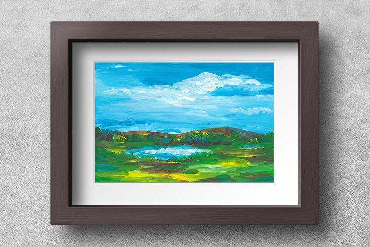 Landscape illustration, Summer Meadow- Printable Wall Art