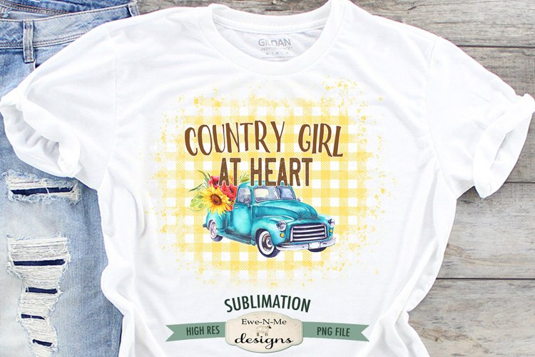Country Girl Truck Sublimation | Blue Truck Sunflowers PNG