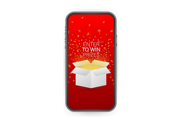 Enter to Win Prizes. Open Red Gift Box and Confetti on smart example image 1