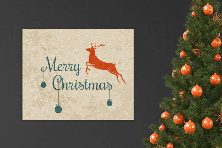 Christmas vector poster with deer and grunge texture example image 1