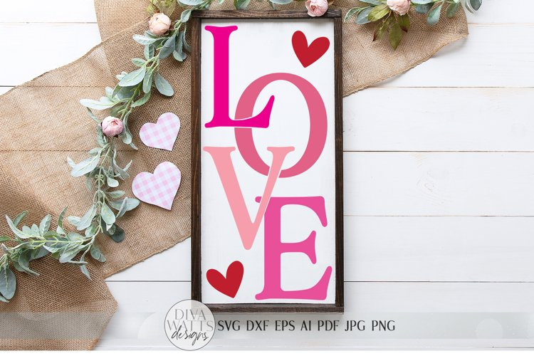 LOVE svg   Valentine's Day SVG   Modern Farmhouse Sign   dxf example image 1