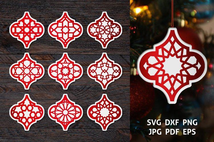 Arabesque Christmas Ornament SVG Bundle, Lantern cut files example image 1