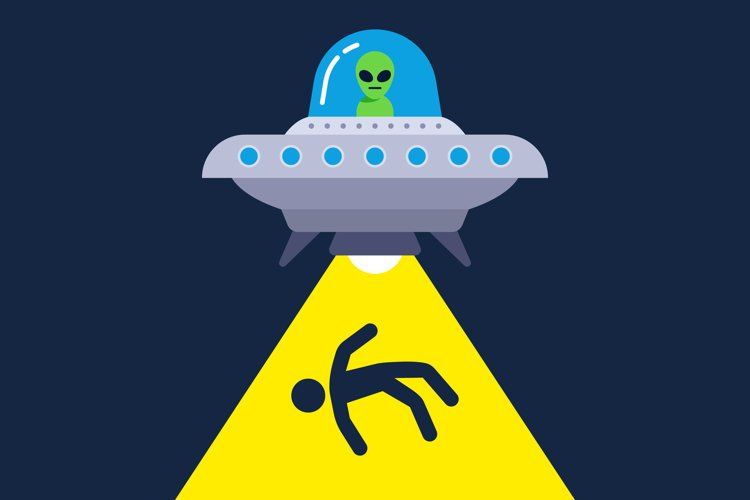 illustration of human abduction by aliens. flat vector example image 1