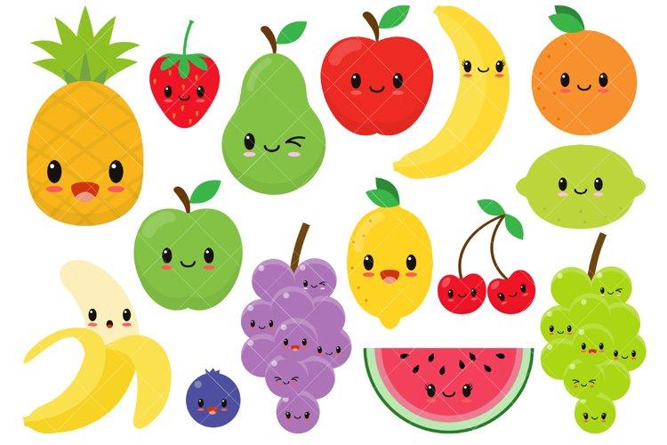 Kawaii Fruit / Cute Fruit Clipart / Happy Fruit Clip Art example image 1