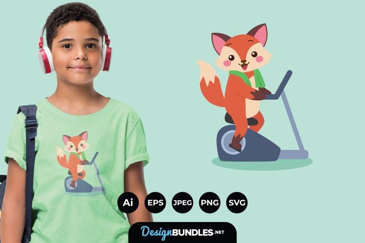 Fox Doing Exercise Illustrations for T-Shirt Design