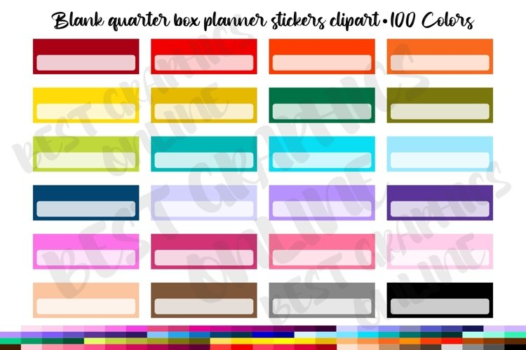 100 Blank quarter box digital planner stickers clipart example image 1
