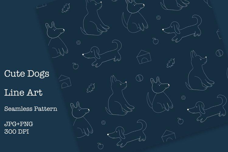 Cute Dogs Line Art, Seamless Pattern, JPG, PNG