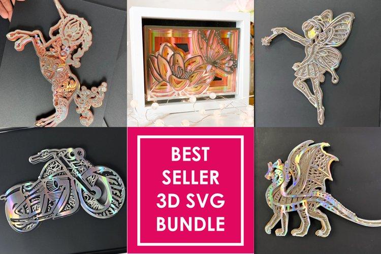 5 BEST SELLER 3D SVG Bundle Fairy, Bike, Dragon, Butterfly