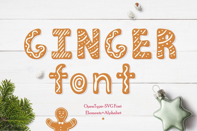 Gingerbread Christmas color SVG font example image 1