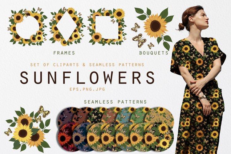 Sunflowers. Clipart set