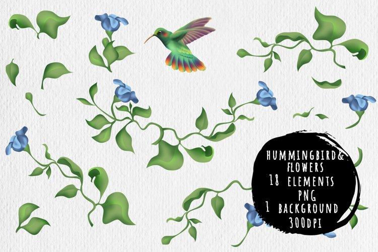 Hummingbird and fantasy flora example image 1