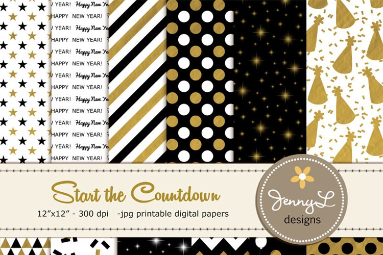 New Year's Eve Digital Papers, Black and Gold Geometric Digital paper example image 1