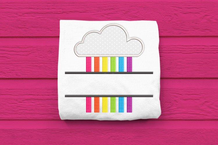 Rainbow Cloud Split Applique Embroidery Design