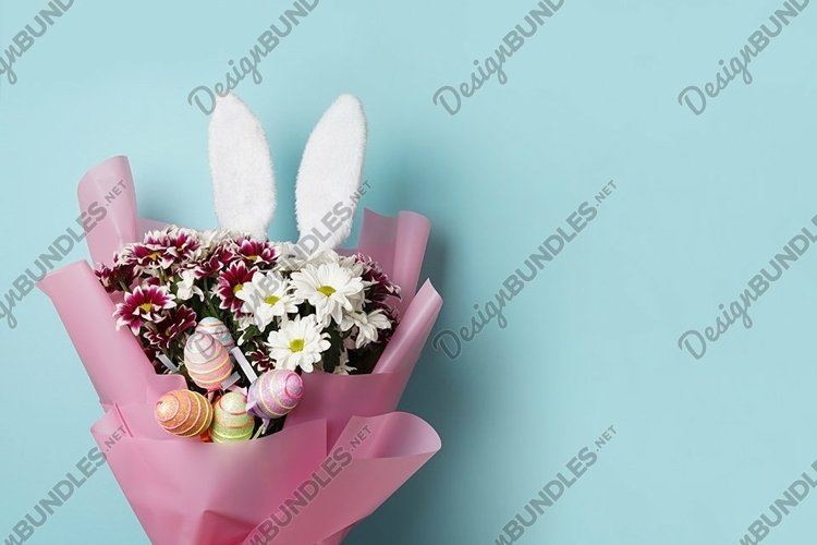 Happy Easter - flowers and colourful eggs example image 1