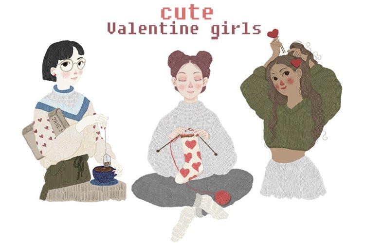 Cute valentine hand-drawn cartoon girls illustrations