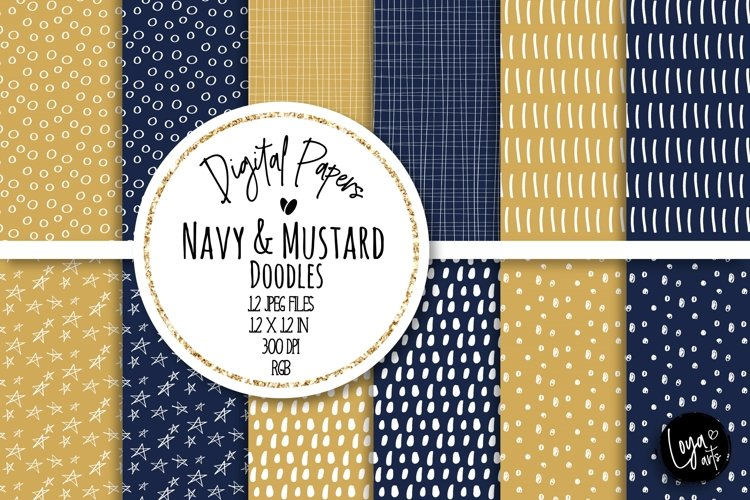 Navy and Mustard Doodles Digital Paper Set example image 1