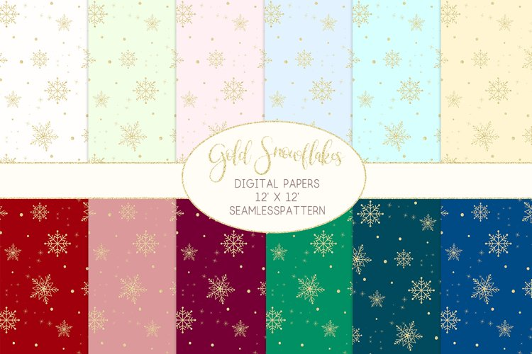 Gold Snowflakes Digital Papers Seamless Patterns example image 1
