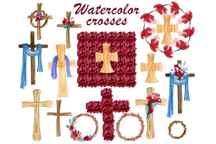 Catholic cross clipart, He has risen, Easter wreath