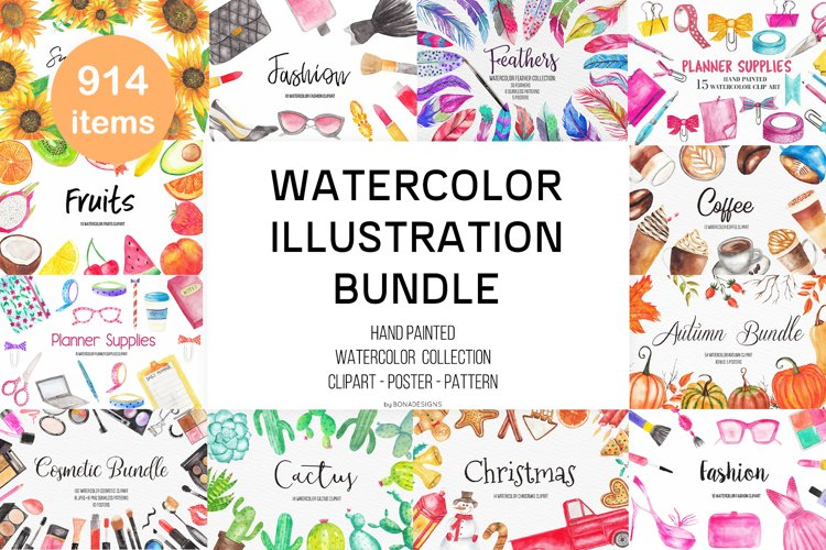 Watercolor Illustration Bundle, Watercolor Clipart Bundle example image 1