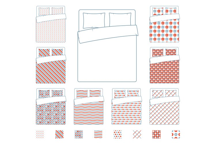 Linen and bedding, duvet vector textile patterns template example image 1