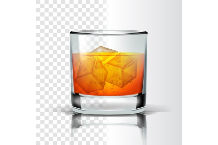 Realistic Glass With Bourbon And Ice Cubes Vector example image 1