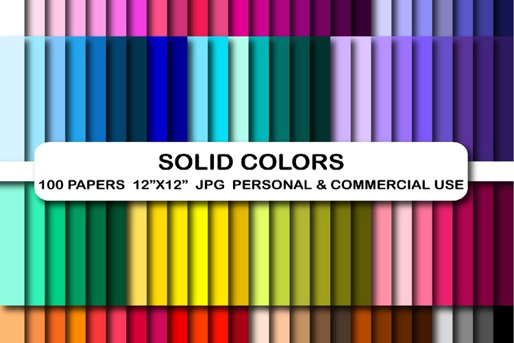 100 Solid Colors Digital Paper pack Rainbow scrapbook papers example image 1