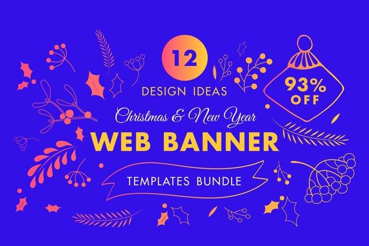 Winter Web Banner Design Templates Bundle SALE example image 1