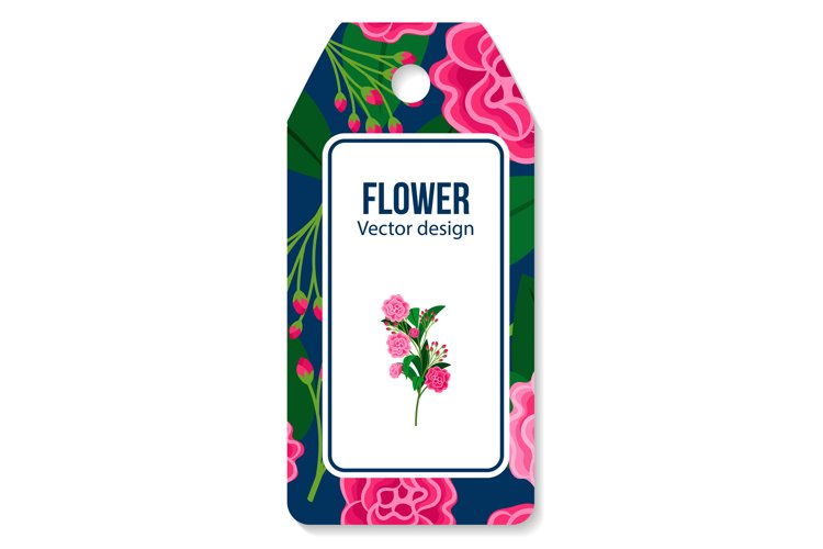Peony and green leaves pattern tag example image 1
