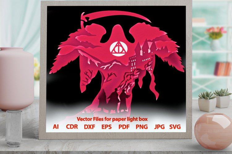 3D Light Box wizard2 Shadowbox svg template PNG DXF