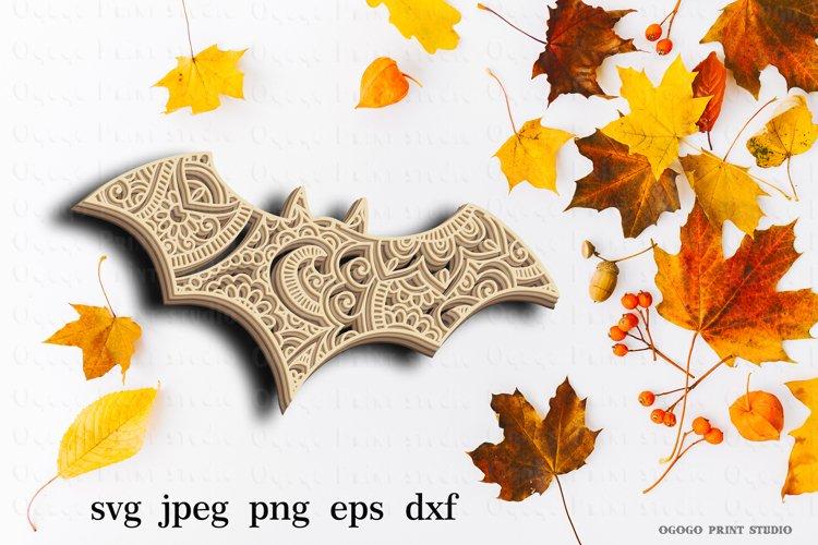 3D Layered Bat Mandala Svg, Zentangle Svg, Cricut cut file