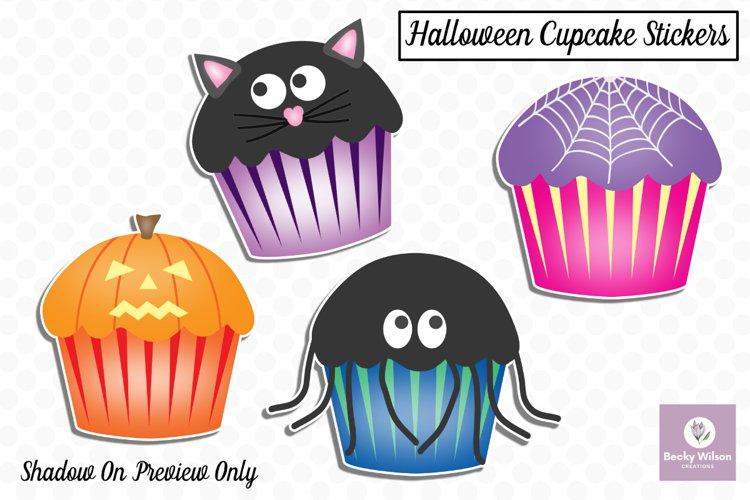 Cute Halloween Cupcake Stickers example image 1