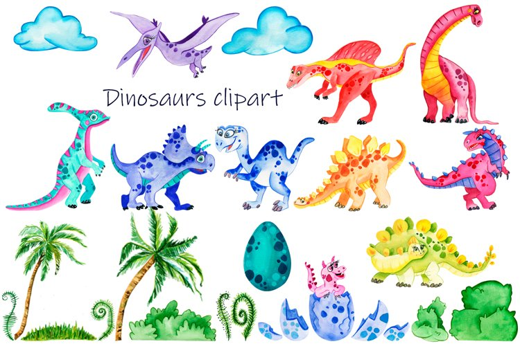 Baby Cute Dinosaurs Watercolor Clipart - Free Design of The Week Design0