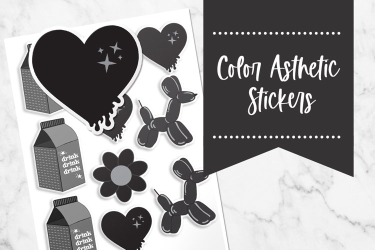 Black| Color Asthetic Stickers example image 1