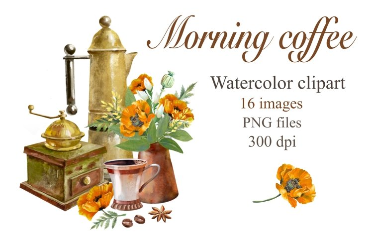 Coffee and poppy clipart Watercolor, Coffee illustration