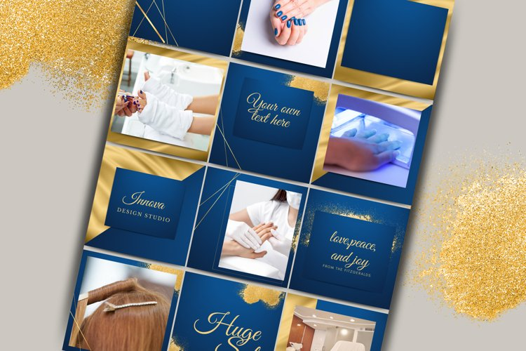 Blue and Gold Instagram Template for Canva.Editable template