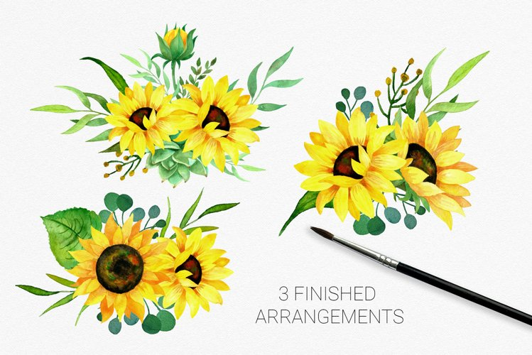 Sunflowers arrangements clipart for card making, invites