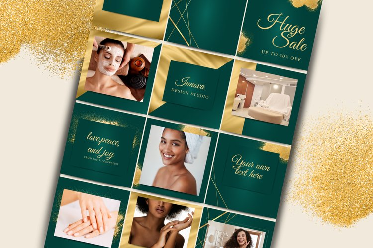 Green and Gold Instagram Template for Canva.Beauty bundle.